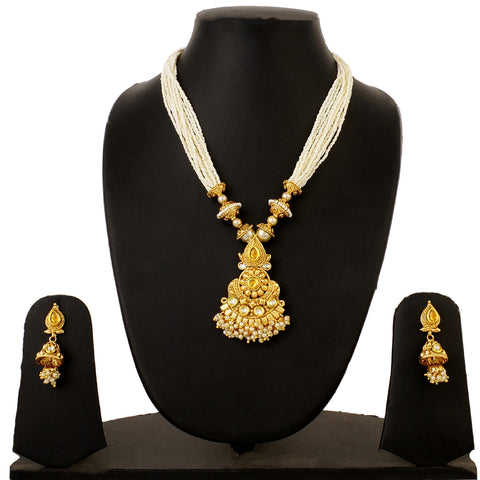 Gold Plated Kundan Long Pearl Necklace and Jhumki Earrings Imitation Jewelry Set for Women and Girls