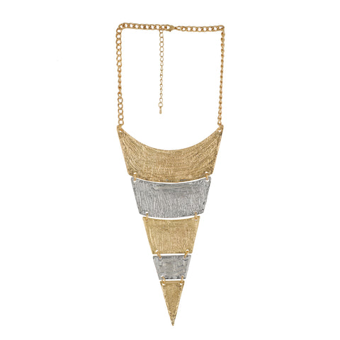 Gold and Silver Coloured Triangular Geometrical Necklace For Girls and Women
