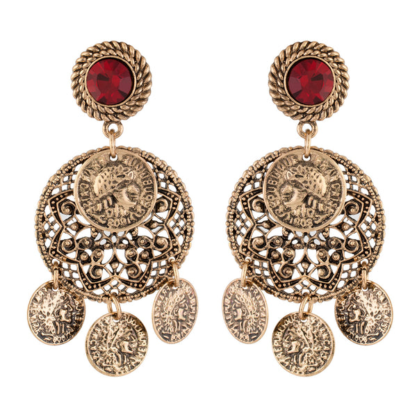 Trendy Oxide Gold Colour Alloy Ear Danglers for Girls and Women