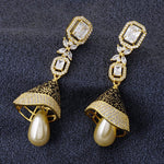 Load image into Gallery viewer, Black Antique Gold CZ Copper Jhumki