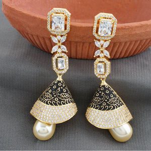 Black Antique Gold CZ Copper Jhumki