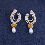 Load image into Gallery viewer, Ethnic Gold CZ Copper Jhumki with Pearl