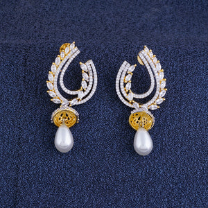 Ethnic Gold CZ Copper Jhumki with Pearl