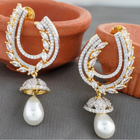 Ethnic Gold Plated CZ Copper Jhumki with Pearl for Ladies and Girls