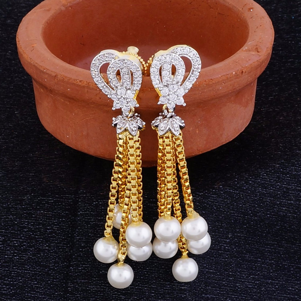 Traditional Gold Plated CZ Copper Hangings with Pearl for Ladies and Girls