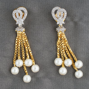 Traditional Gold CZ Copper Hangings with Pearl