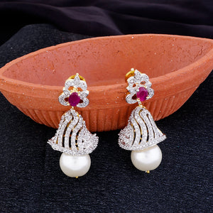Rodhium CZ Copper Jhumki with Pearl Hanging