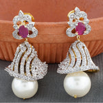 Load image into Gallery viewer, Rodhium CZ Copper Jhumki with Pearl Hanging