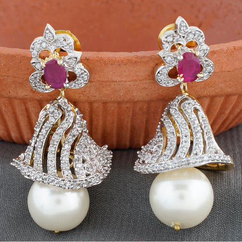 Designer Rodhium Plated CZ Copper Jhumki with Pearl Hanging for Ladies and Girls