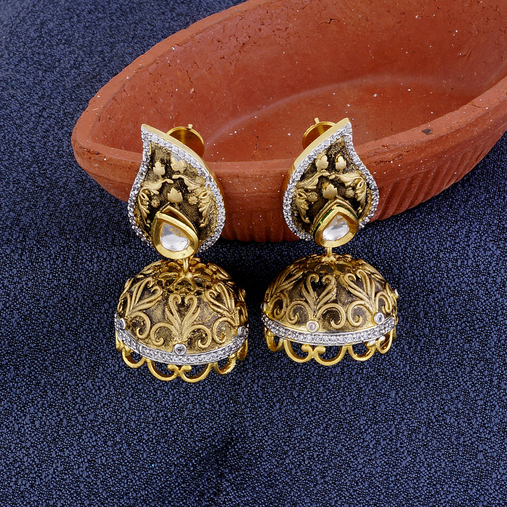 Stylish Drop Shape Gold Plated CZ Copper Kundan Jhumki for Ladies and Girls