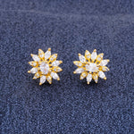 Load image into Gallery viewer, Floral Shape Gold CZ Copper Studs