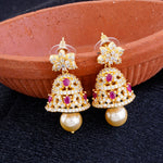 Designer Floral Design Gold Plated CZ Copper Jhumki with Pearl Hanging for Ladies and Girls