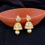 Load image into Gallery viewer, Gold CZ Copper Jhumki with Pearl Hanging