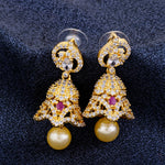 Traditional Gold Plated CZ Copper Jhumki with Pearl Hanging for Ladies and Girls