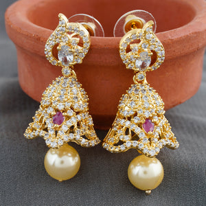 Gold CZ Copper Jhumki with Pearl Hanging