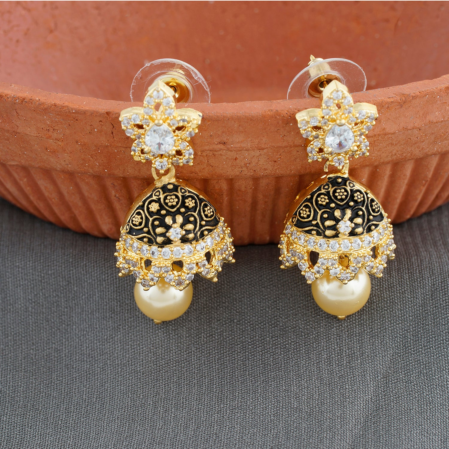 Black Antique Gold CZ Copper Jhumki with Pearl Hanging