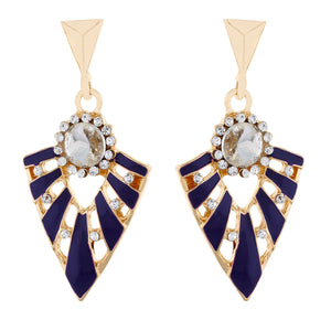 Purple colour Triangular Design Hanging Earrings for Girls and Women