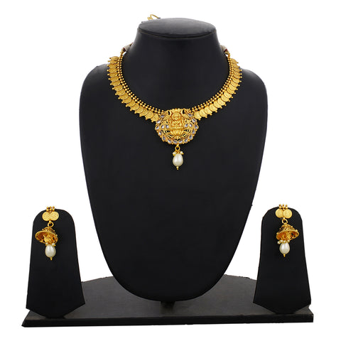 Gold Plated Goddess Lakshmi Coin Design Necklace Earrings Jhumki Jewelry Set for Women