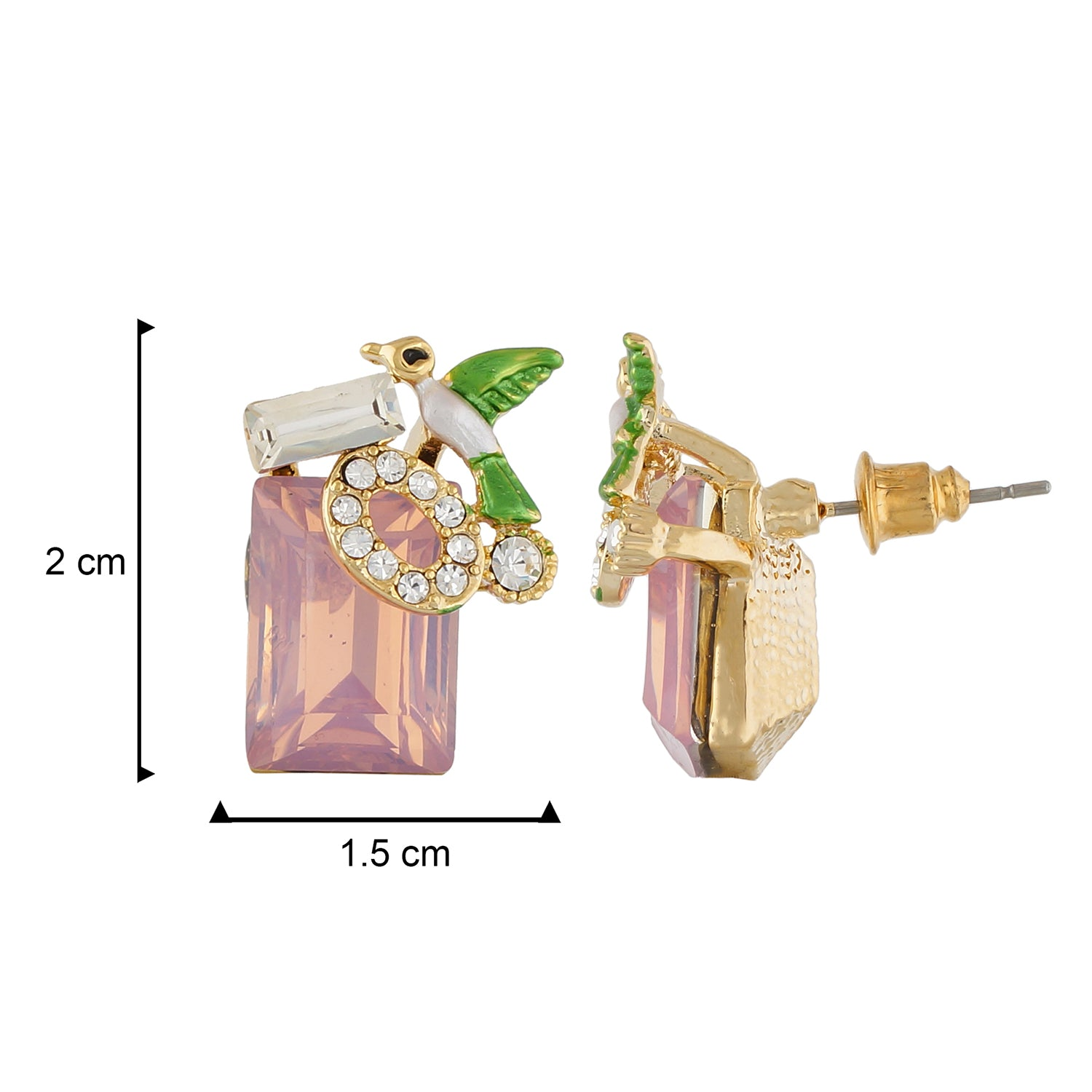 Stunning Pink Colour Rectangular Shape Ear Stud for Girls and Women