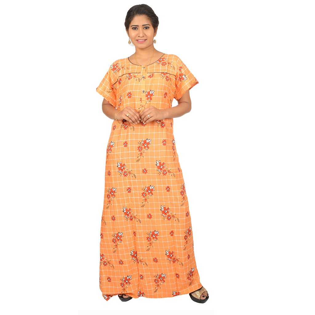 Rayon Printed Nighty for Ladies