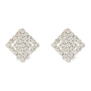 Trendy Silver Colour Diamond Shape Alloy Clip On Earrings for Girls with on Pierced Ears