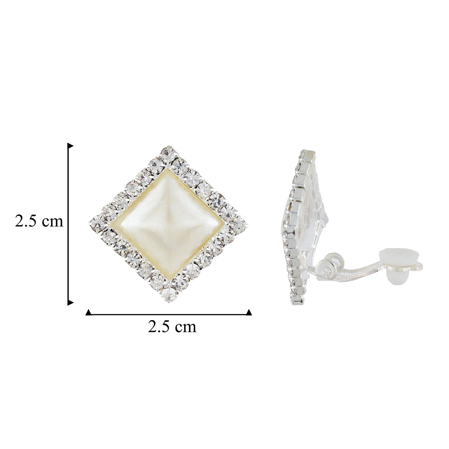 Appealing White and Silver Colour Diamond Shape Alloy Clip On Earrings for Girls with on Pierced Ears