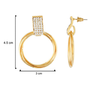 Classy Gold Colour Round Ring Design Earring for Girls and Women