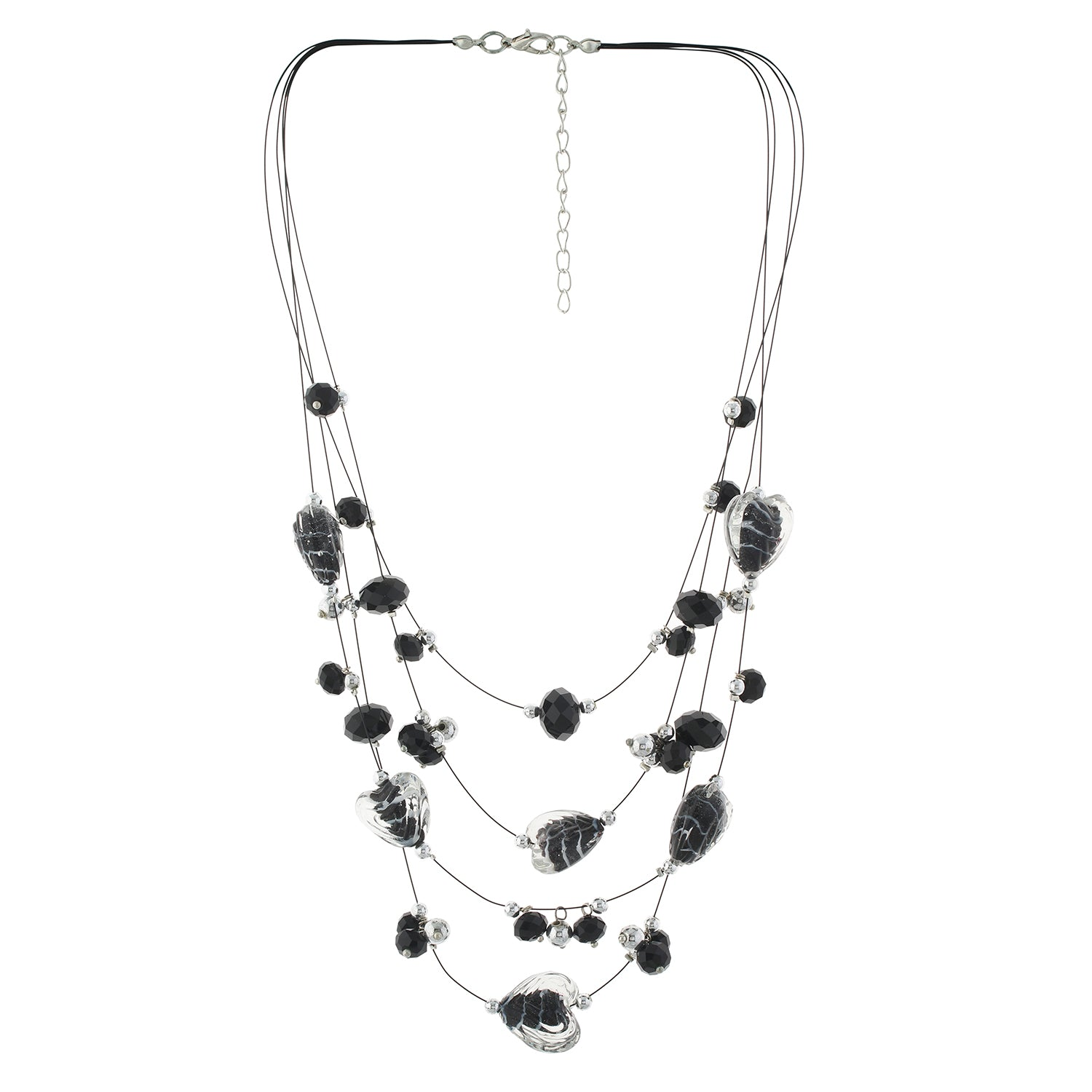 Black colour Multi Strand design Necklace Set for girls and women