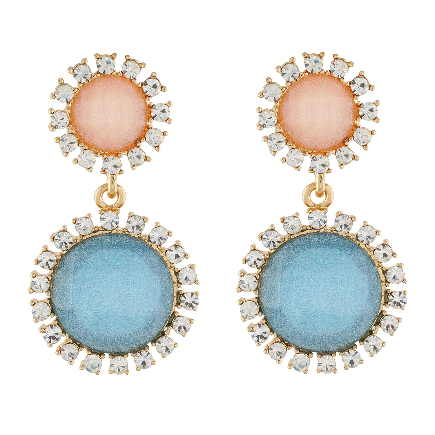 Chic Beige and Blue Colour Round Shape Ear Dangler for Girls and Women