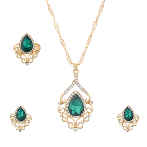 Green and Gold colour Drop design Pendant Set for girls and women