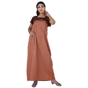 Brown colour Geometric Design Printed Square Neck Cotton Maternity Feeding Nighty For Ladies Nightwear Full Length Women Night Gown Short Sleeves (Free Size)