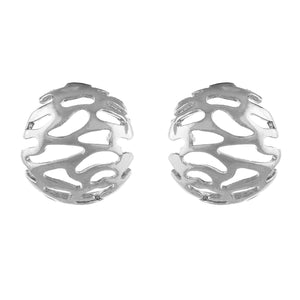 Silver colour Round Design  Stud Earrings for Girls and Women