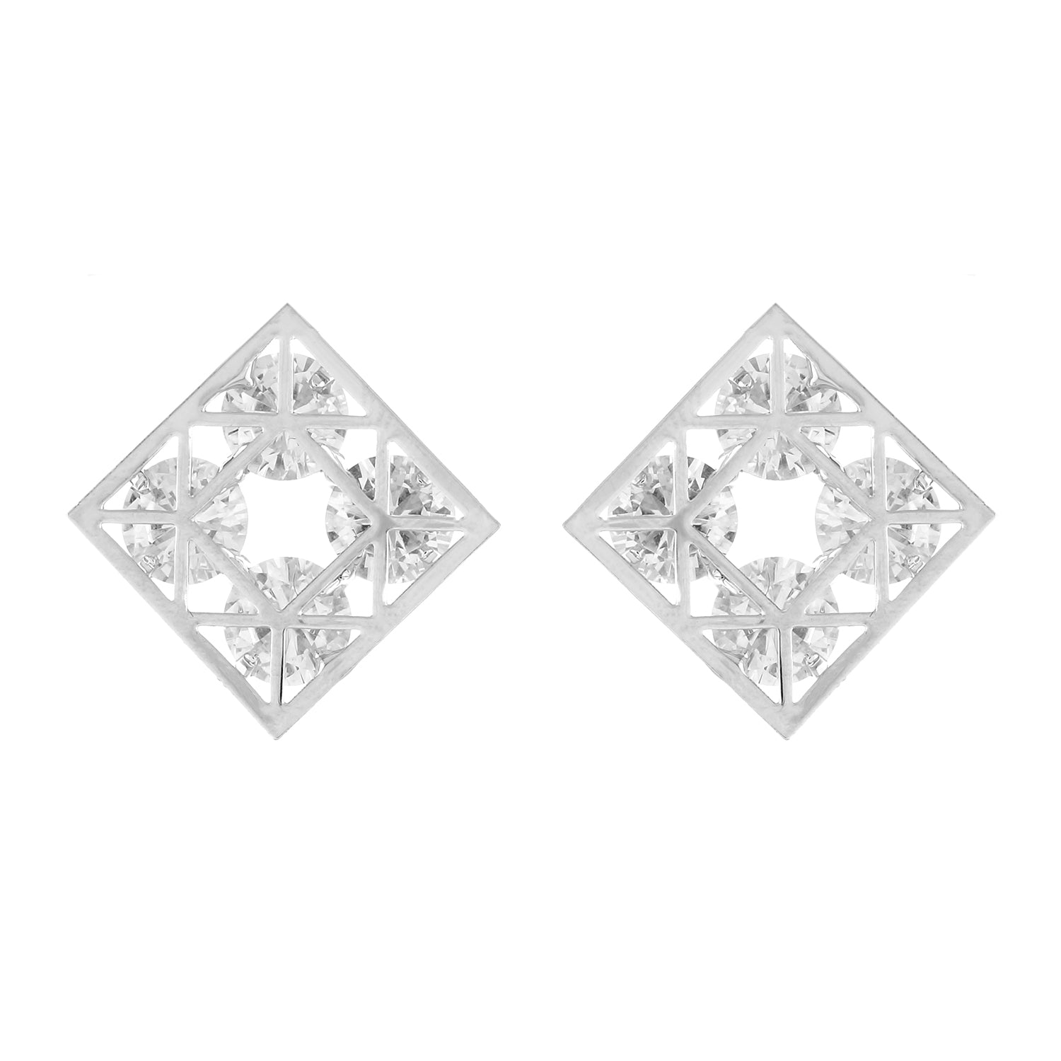 Silver colour Rhombus design  Studs for girls and women