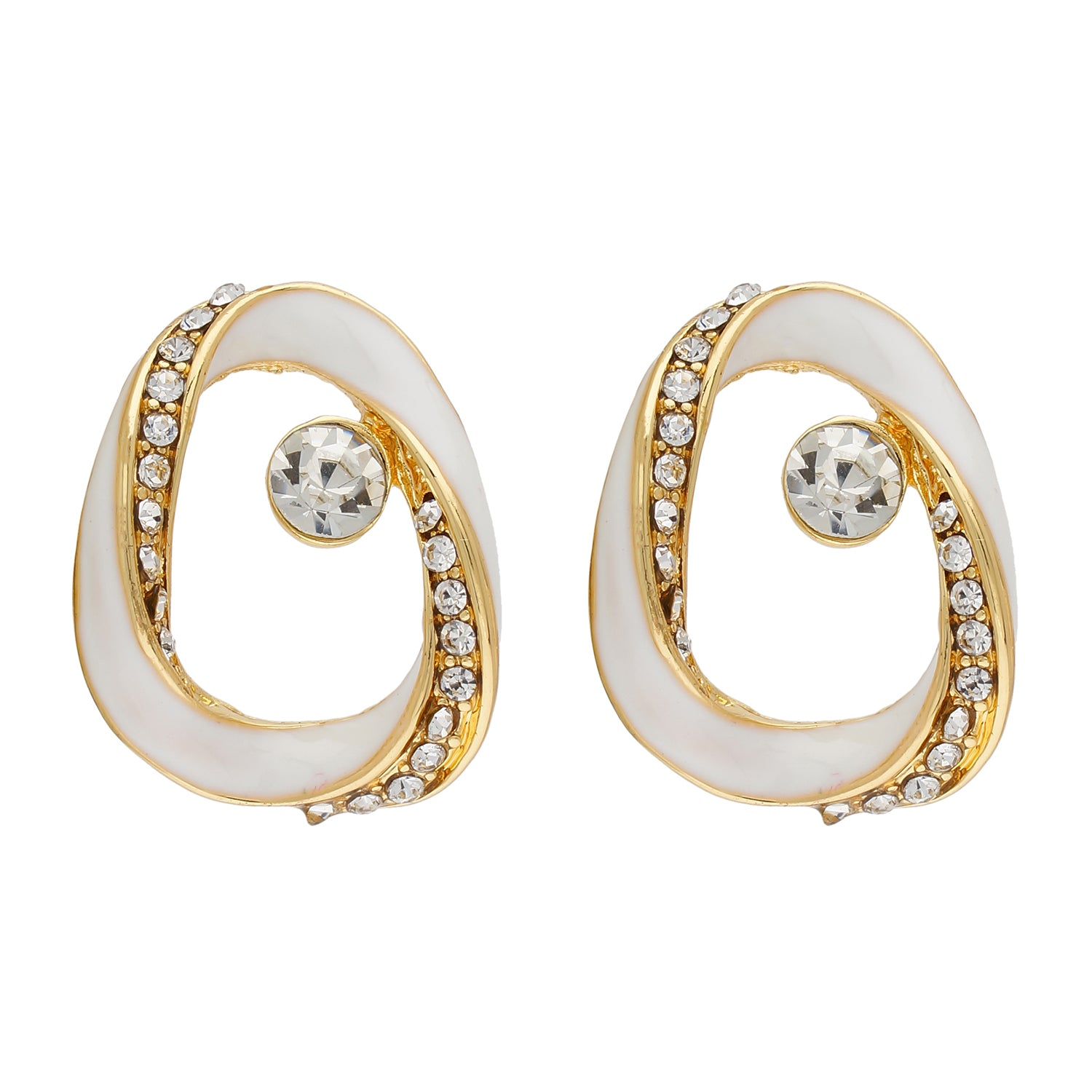 Contemporary White and Gold Colour Oval Design Enamel Enhanced Earring for Girls and Women