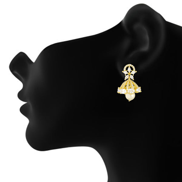 Stylish Gold Plated CZ Copper Jhumki with Pearl Hanging for Ladies and Girls