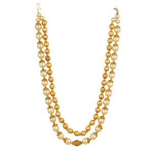 Gold Plated Balls Two Line Pearl Necklace and Earrings Fashion Jewelry Set for Women and Girls