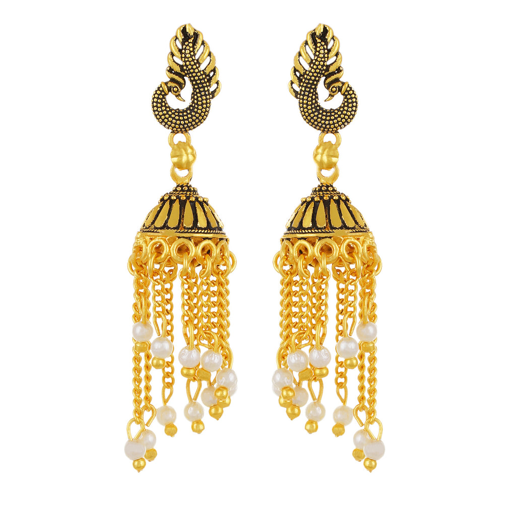 Gold plated Pearl Mayur Stud Jhumki Earrings Fashion Imitaion Jewelry for Girls and Women