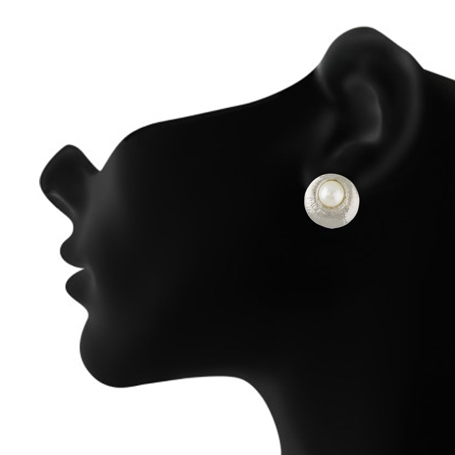 Trendy Silver Colour Round Shape Alloy Clip On Earrings for Girls with Non Pierced Ears
