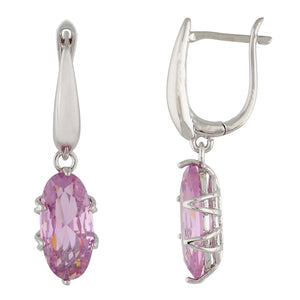 Impressive Pink and Silver Colour Oval Shape Earring for Girls and Women