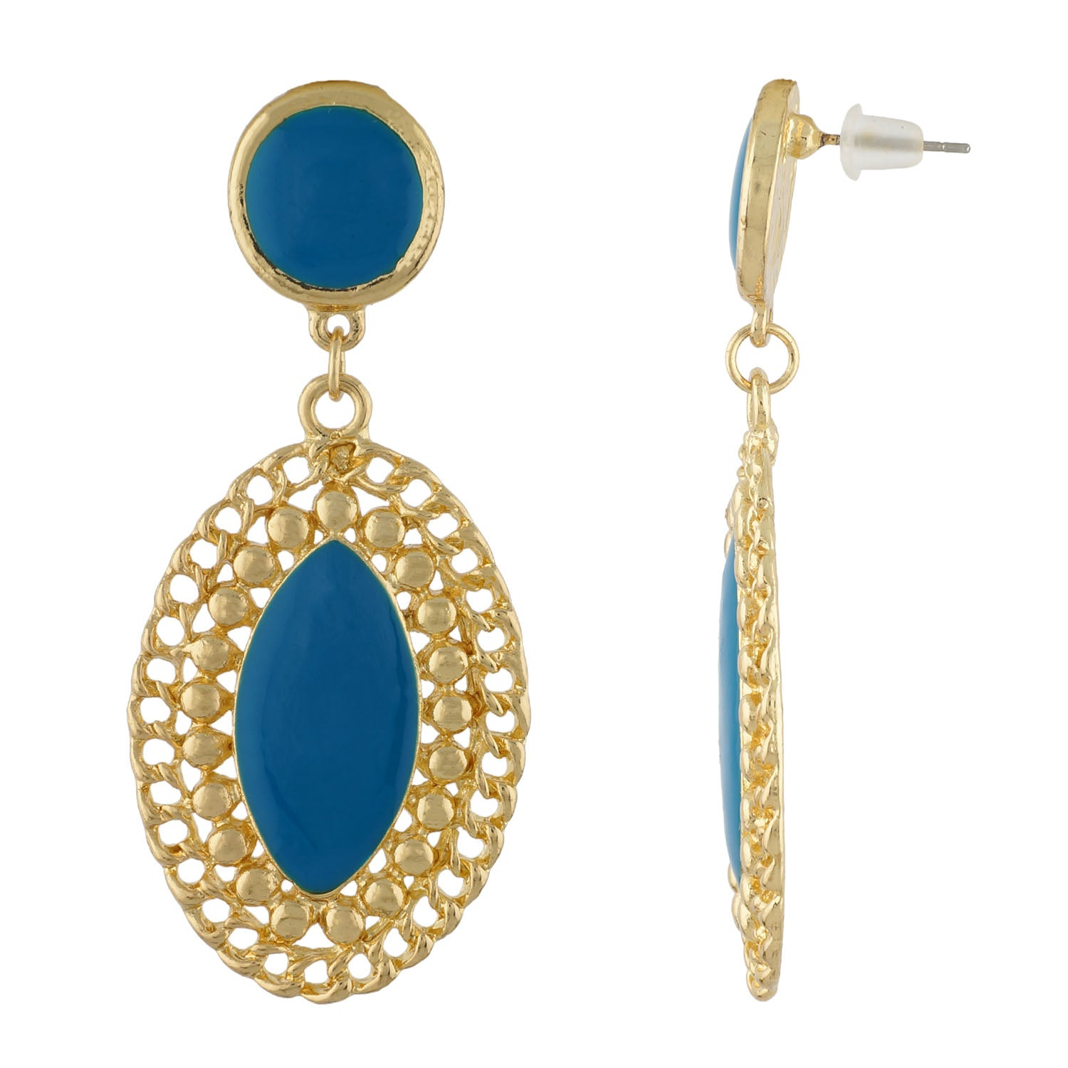 Stylish Blue and Gold Colour Oval Shape Enamel Enhanced Earring for Girls and Women