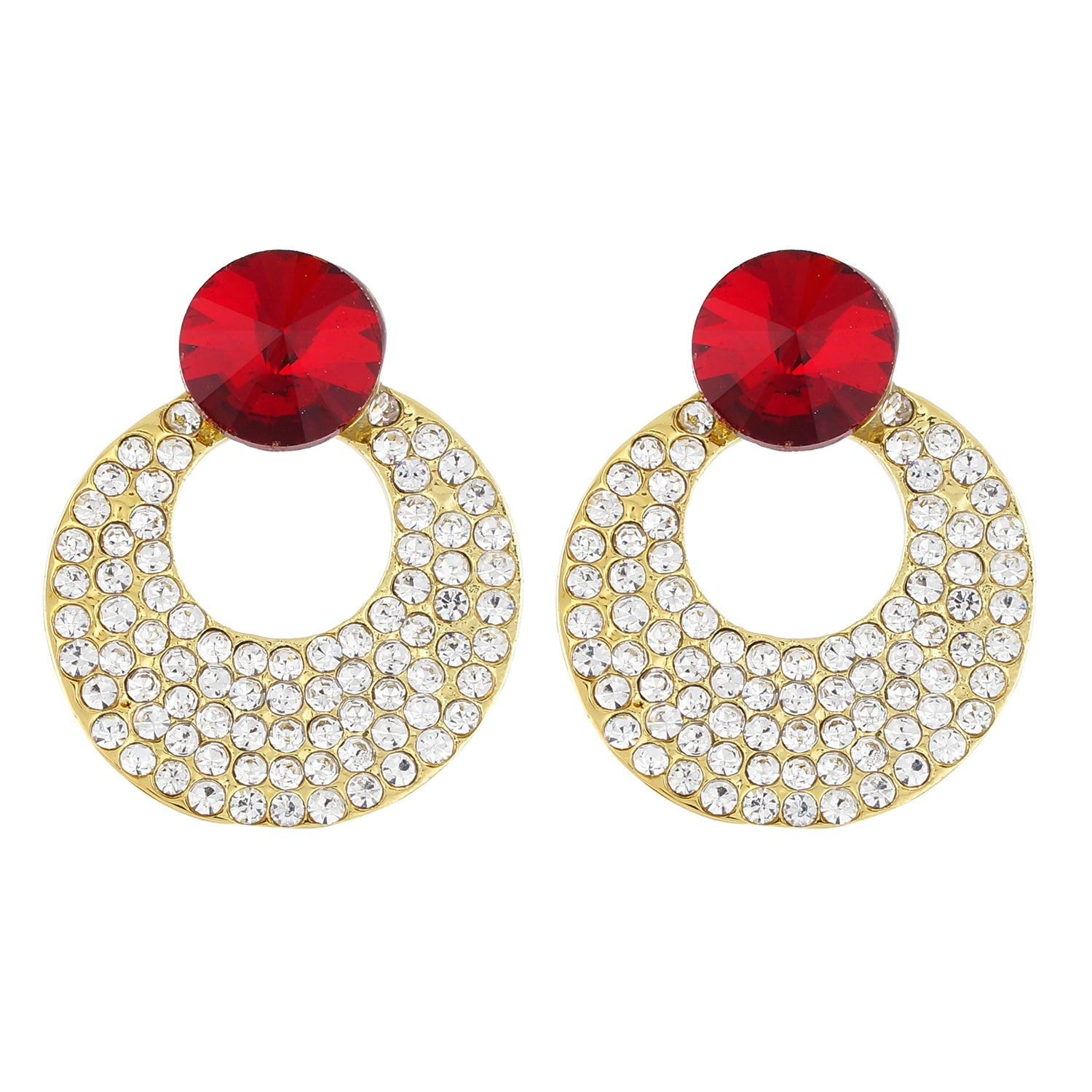 Red and Gold Colour Round Shape Ear Bali for Girls and Womens