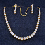 Load image into Gallery viewer, Designer Gold Plated CZ Copper Necklace Set for Ladies and Girls