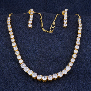 Designer Gold Plated CZ Copper Necklace Set for Ladies and Girls