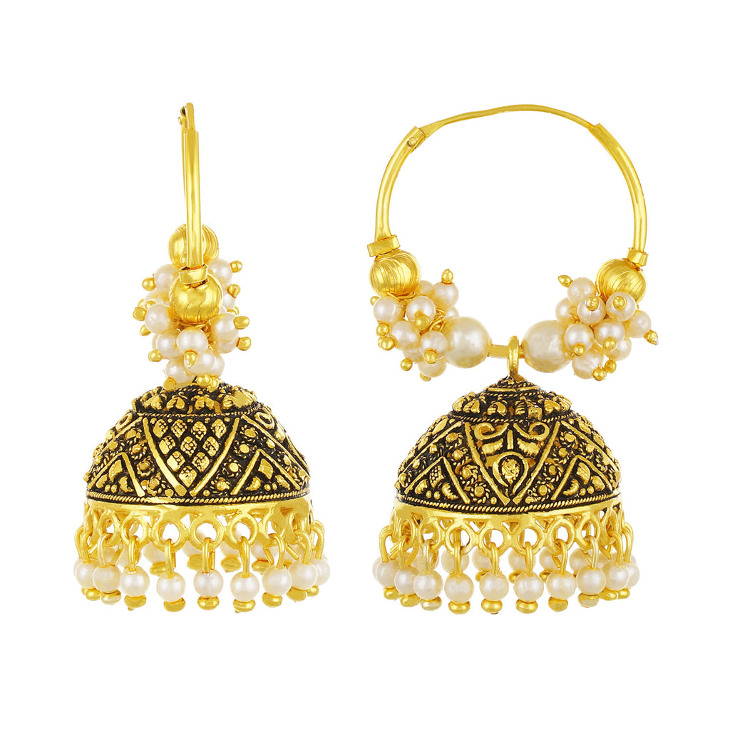 Gold plated Chandbali Jhumki Pearl Earrings Fashion Imitaion Jewelry for Girls and Women