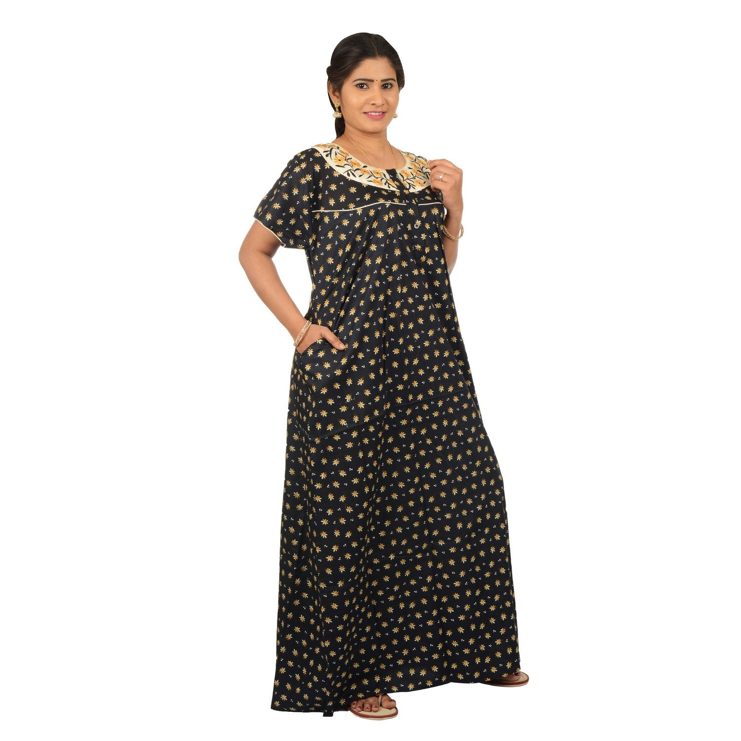 Embroided Floral Nighty For Women - Black