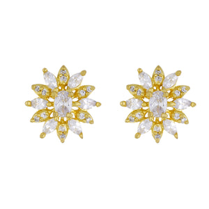 Etnic  Floral Shape Gold Plated CZ Copper Studs for Ladies and Girls