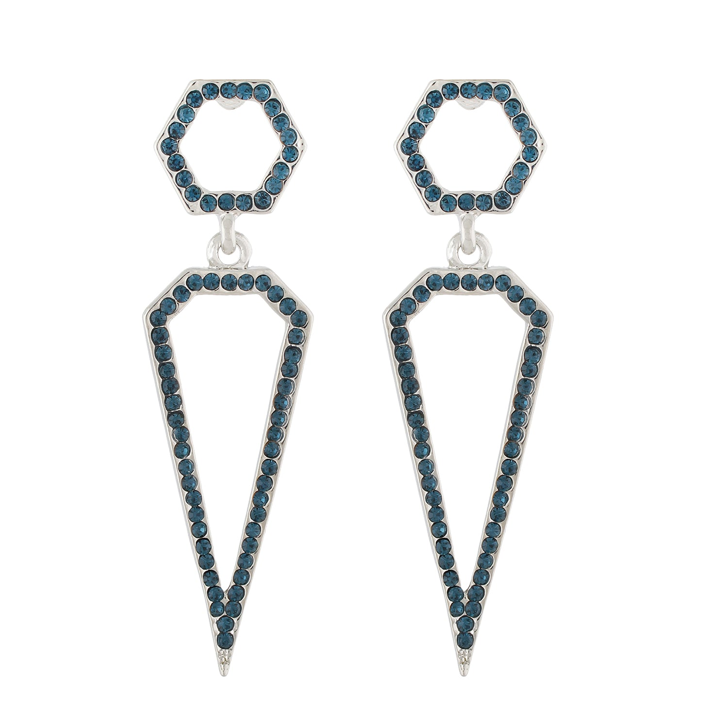 Dazzling Silver Colour studded with blue stones Geometrical Design Earring for Girls and Women