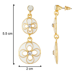 Modish White and Gold Colour Floral and Round Shape Enamel Enhanced Earring for Girls and Women
