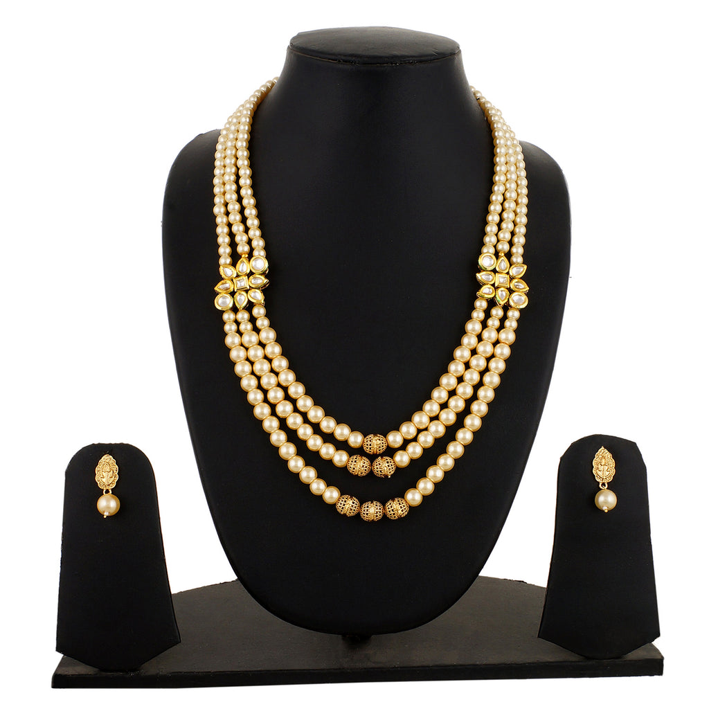 Gold Plated 2 Line Pearl Necklace with Kundan Buckle and Earrings Fashion Jewelry Set for Women and Girls