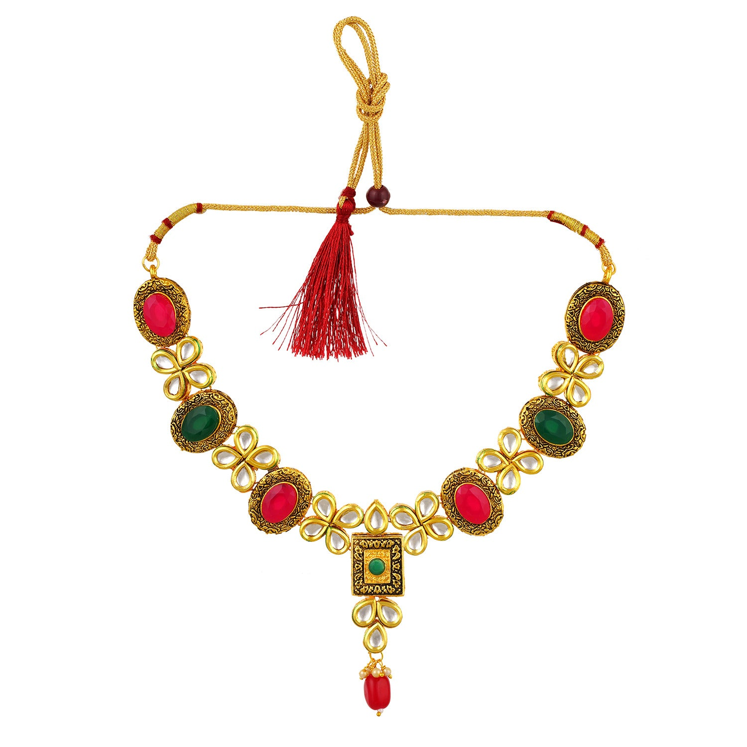 Gold Plated Kundan Meenakari Necklace Earrings Jewelry Set for Girls and Women